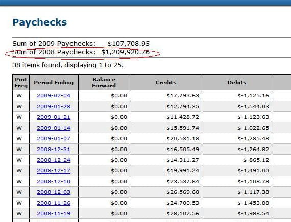 2nd account annual paychecks total